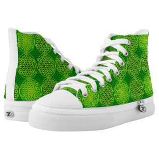 Flower of Life - stamp pattern - green Printed Shoes