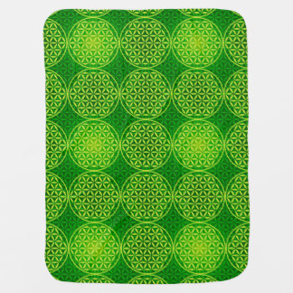 Flower of Life - stamp pattern - green Receiving Blankets