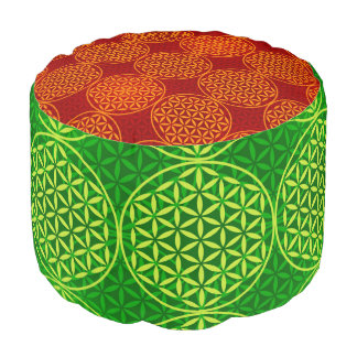 Flower of Life - stamp pattern - green Round Pouffe