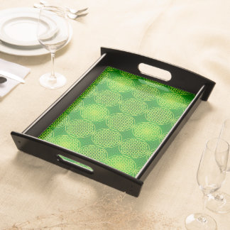 Flower of Life - stamp pattern - green Serving Tray