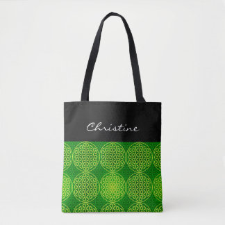 Flower of Life - stamp pattern - green Tote Bag