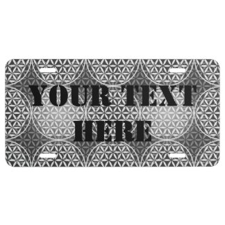 Flower of Life - stamp pattern - grey License Plate