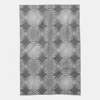 Flower of Life - stamp pattern - grey Towels