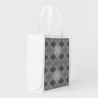 Flower of Life - stamp pattern - grey Reusable Grocery Bags
