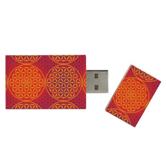 Flower of Life - stamp pattern - orange pink Wood USB 2.0 Flash Drive