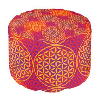 Flower of Life - stamp pattern - orange pink Pouf