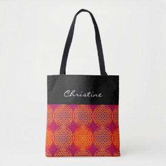 Flower of Life - stamp pattern - orange pink Tote Bag