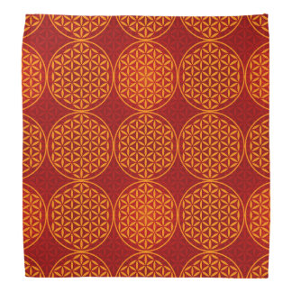 Flower of Life - stamp pattern - orange red Bandana