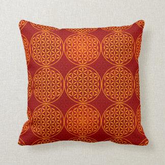 Flower of Life - stamp pattern - orange red Cushion
