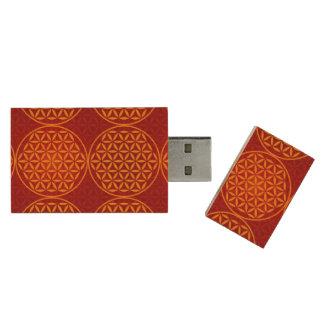Flower of Life - stamp pattern - orange red Wood USB 2.0 Flash Drive