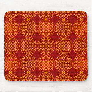 Flower of Life - stamp pattern - orange red Mouse Pads
