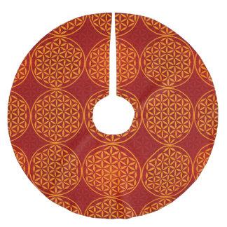 Flower of Life - stamp pattern - orange red Brushed Polyester Tree Skirt