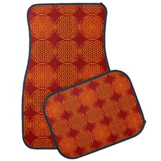 Flower of Life - stamp pattern - orange red Car Mat