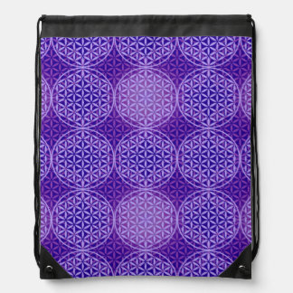 Flower of Life - stamp pattern - purple Cinch Bags