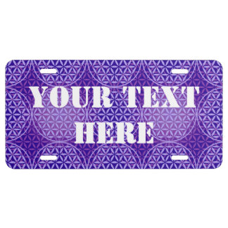 Flower of Life - stamp pattern - purple License Plate