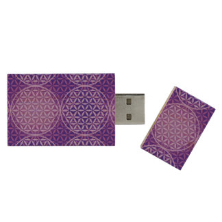 Flower of Life - stamp pattern - purple Wood USB 2.0 Flash Drive
