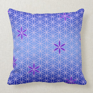 Flower Of Life - stamp seamless pattern - blue Throw Pillow