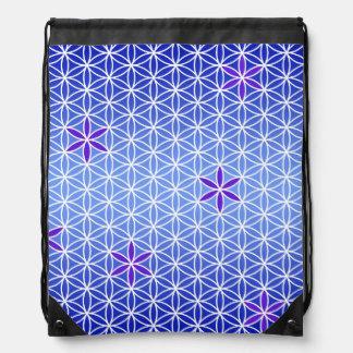 Flower Of Life - stamp seamless pattern - blue Drawstring Bag