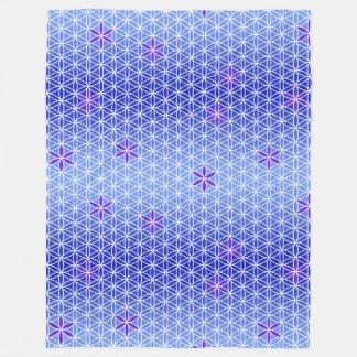 Flower Of Life - stamp seamless pattern - blue Fleece Blanket