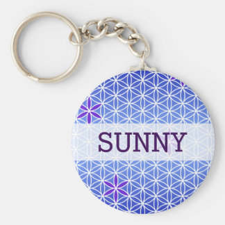 Flower Of Life - stamp seamless pattern - blue Basic Round Button Key Ring