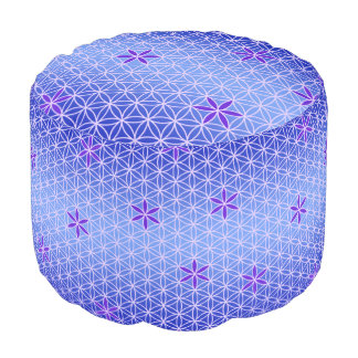 Flower Of Life - stamp seamless pattern - blue Round Pouffe