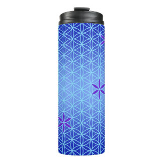 Flower Of Life - stamp seamless pattern - blue Thermal Tumbler