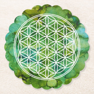 Flower of Life Symbol on Alcohol Ink Background Paper Coaster