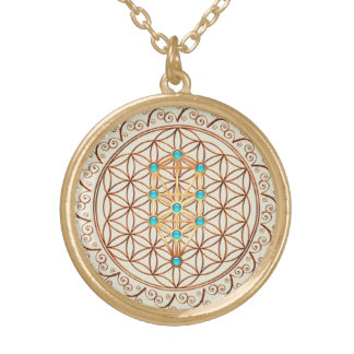 Flower of Life, Tree of Life, Kabbalah, Sephiroth Gold Plated Necklace