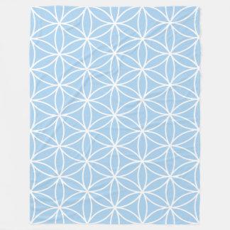 Flower of Life White on Light Blue Big Pattern Fleece Blanket