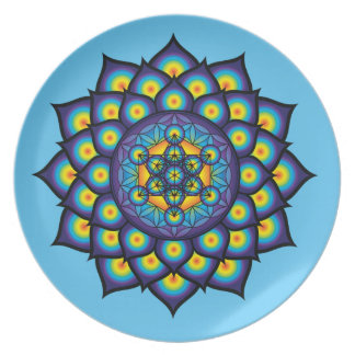 Flower of Life with Metatron's Cube Plate