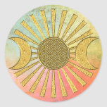Flower Of Life with Moon Round Stickers