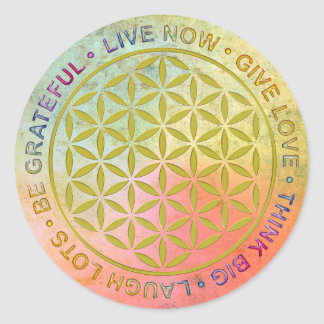 Flower Of Life with Rules Of Life Round Sticker