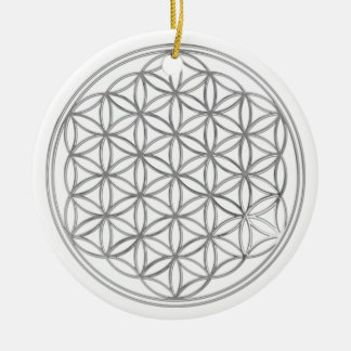 Flower Of Live / silver Ceramic Ornament