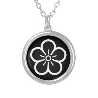 Flower of medium shade plum silver plated necklace