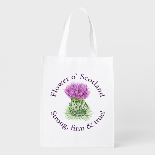 Flower of Scotland. Strong, firm and true! Grocery Bags