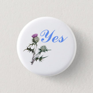 Flower of Scotland Yes Thistle Flower Pinback 3 Cm Round Badge