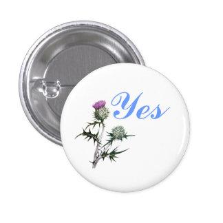 Flower of Scotland Yes Thistle Flower Pinback 3 Cm Round Badge