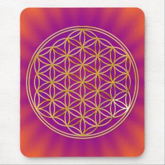Flower of the life/gold big purple orange shine BG Mouse Pad