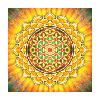 Flower of the life - yellow Lotos Canvas Print