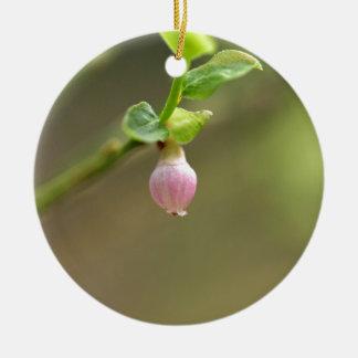 Flower on a European Blueberry bush Round Ceramic Decoration