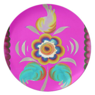 Flower on a pink background plates