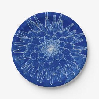 flower on blue paper plate