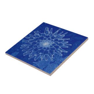 flower on blue tile