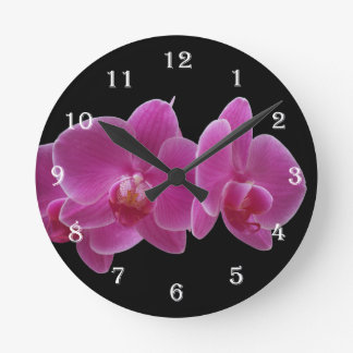 Flower Orchid Wall Clock - Purple Floral