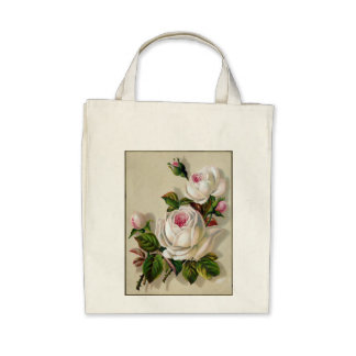 Flower Organic Grocery Tote Tote Bags