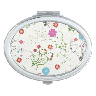Flower Oval Compact Mirror
