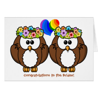 Flower Owls Lesbian Pride Wedding Card for Brides