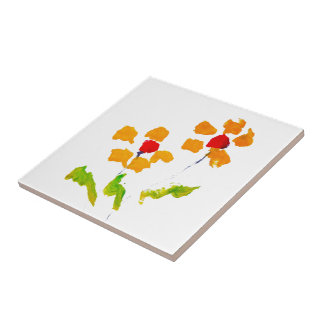Flower painted by elephant small square tile