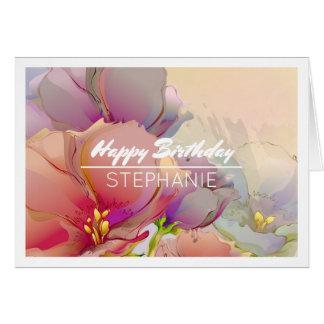 Flower Painting   Custom Name Birthday Cards