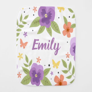 Flower Pansy Floral Butterfly Leaves Purple Yellow Burp Cloth